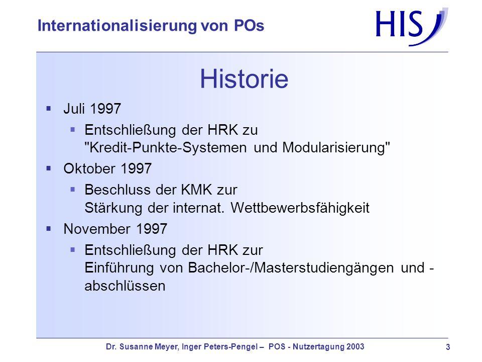 Dr. Susanne Meyer, Inger Peters-Pengel – POS - Nutzertagung 2003 3 Internationalisierung von POs Historie Juli 1997 Entschließung der HRK zu