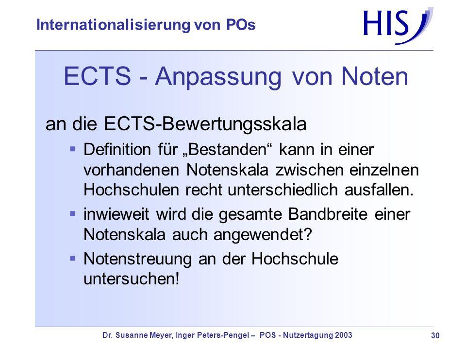 Dr. Susanne Meyer, Inger Peters-Pengel – POS - Nutzertagung 2003 30 Internationalisierung von POs ECTS - Anpassung von Noten an die ECTS-Bewertungsska