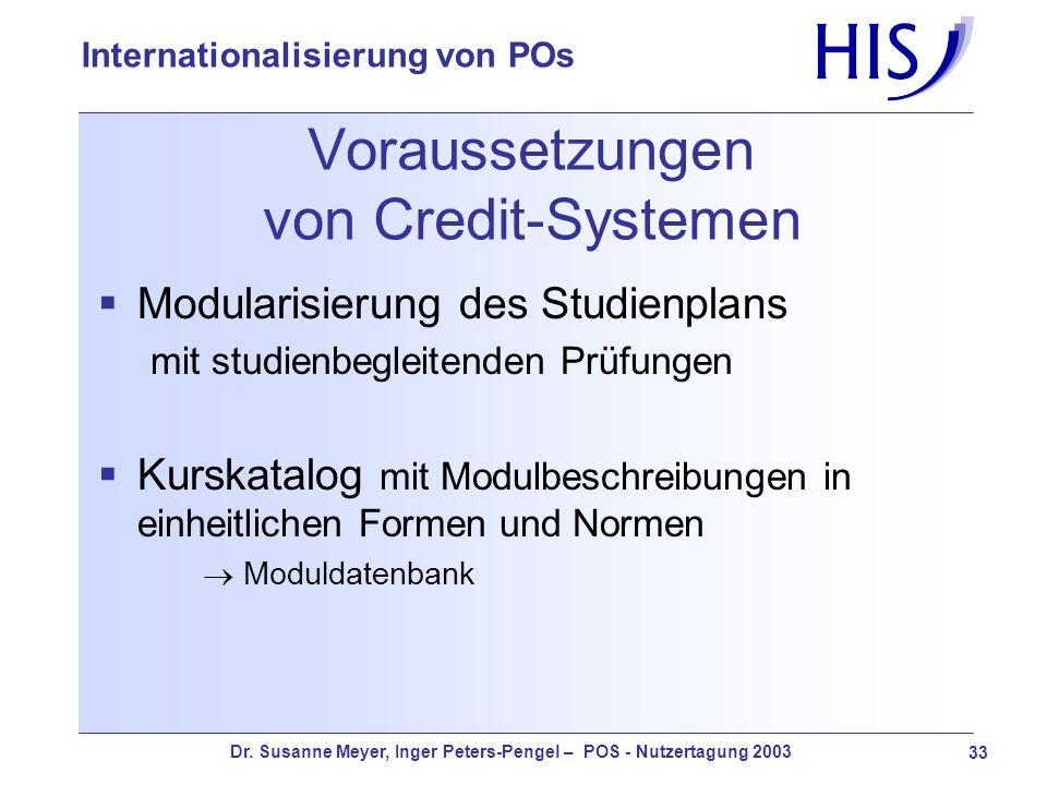 Dr. Susanne Meyer, Inger Peters-Pengel – POS - Nutzertagung 2003 33 Internationalisierung von POs Voraussetzungen von Credit-Systemen Modularisierung