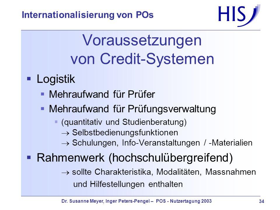 Dr. Susanne Meyer, Inger Peters-Pengel – POS - Nutzertagung 2003 34 Internationalisierung von POs Voraussetzungen von Credit-Systemen Logistik Mehrauf