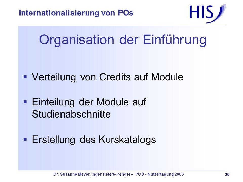 Dr. Susanne Meyer, Inger Peters-Pengel – POS - Nutzertagung 2003 36 Internationalisierung von POs Organisation der Einführung Verteilung von Credits a