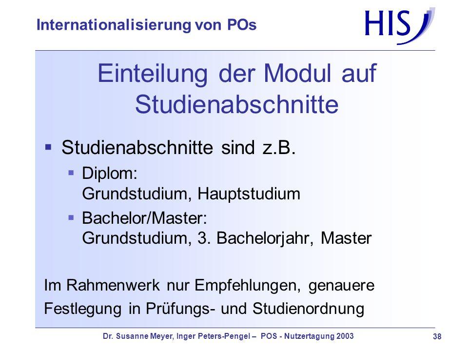 Dr. Susanne Meyer, Inger Peters-Pengel – POS - Nutzertagung 2003 38 Internationalisierung von POs Einteilung der Modul auf Studienabschnitte Studienab