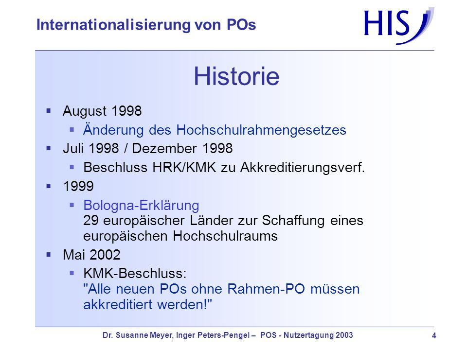 Dr. Susanne Meyer, Inger Peters-Pengel – POS - Nutzertagung 2003 4 Internationalisierung von POs Historie August 1998 Änderung des Hochschulrahmengese
