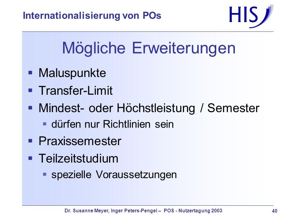 Dr. Susanne Meyer, Inger Peters-Pengel – POS - Nutzertagung 2003 40 Internationalisierung von POs Mögliche Erweiterungen Maluspunkte Transfer-Limit Mi