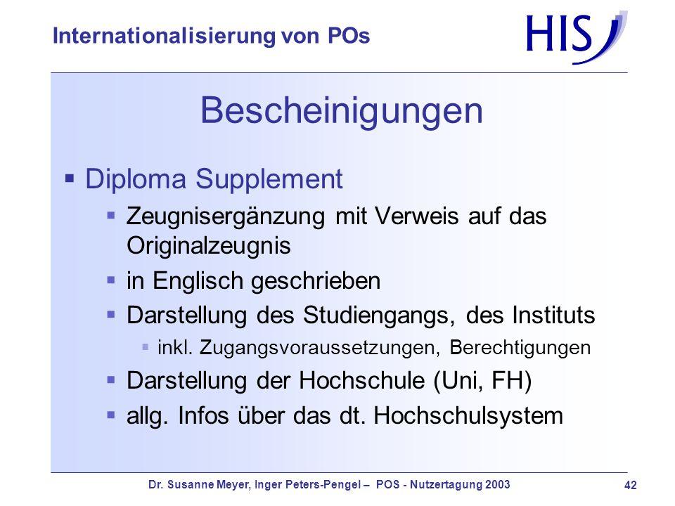 Dr. Susanne Meyer, Inger Peters-Pengel – POS - Nutzertagung 2003 42 Internationalisierung von POs Bescheinigungen Diploma Supplement Zeugnisergänzung