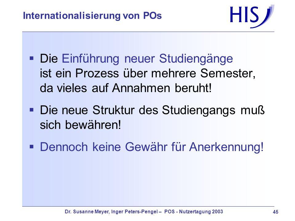 Dr. Susanne Meyer, Inger Peters-Pengel – POS - Nutzertagung 2003 45 Internationalisierung von POs Die Einführung neuer Studiengänge ist ein Prozess üb