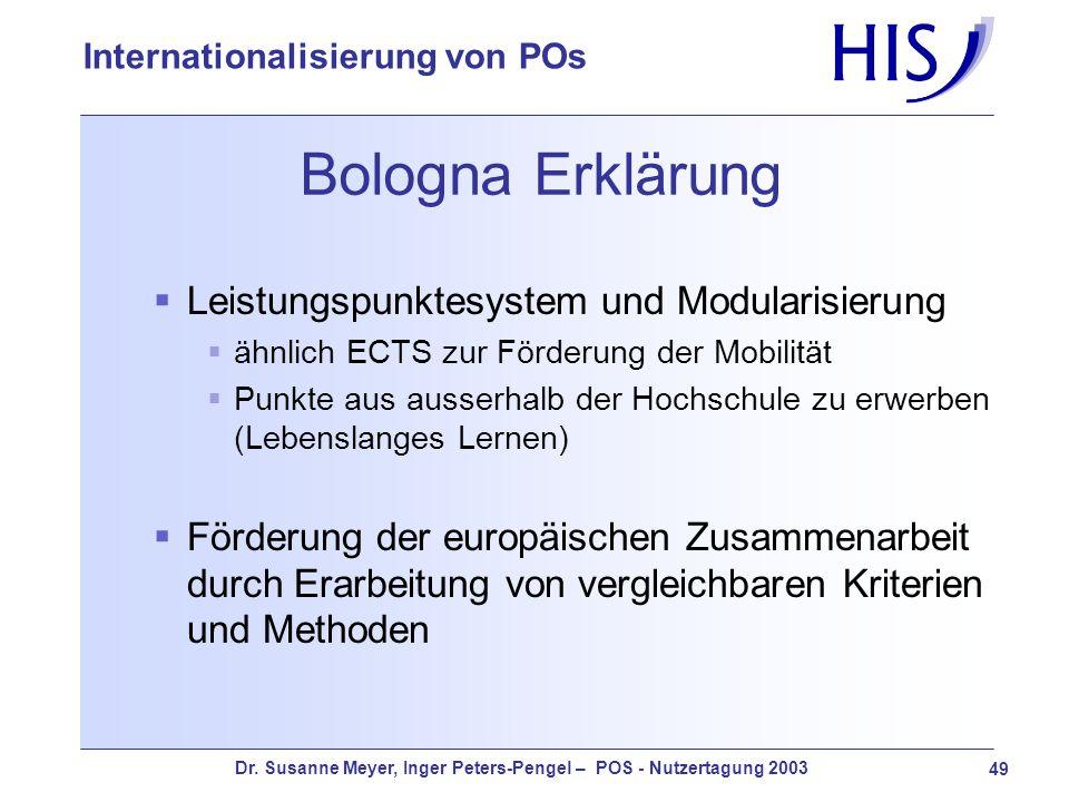Dr. Susanne Meyer, Inger Peters-Pengel – POS - Nutzertagung 2003 49 Internationalisierung von POs Bologna Erklärung Leistungspunktesystem und Modulari