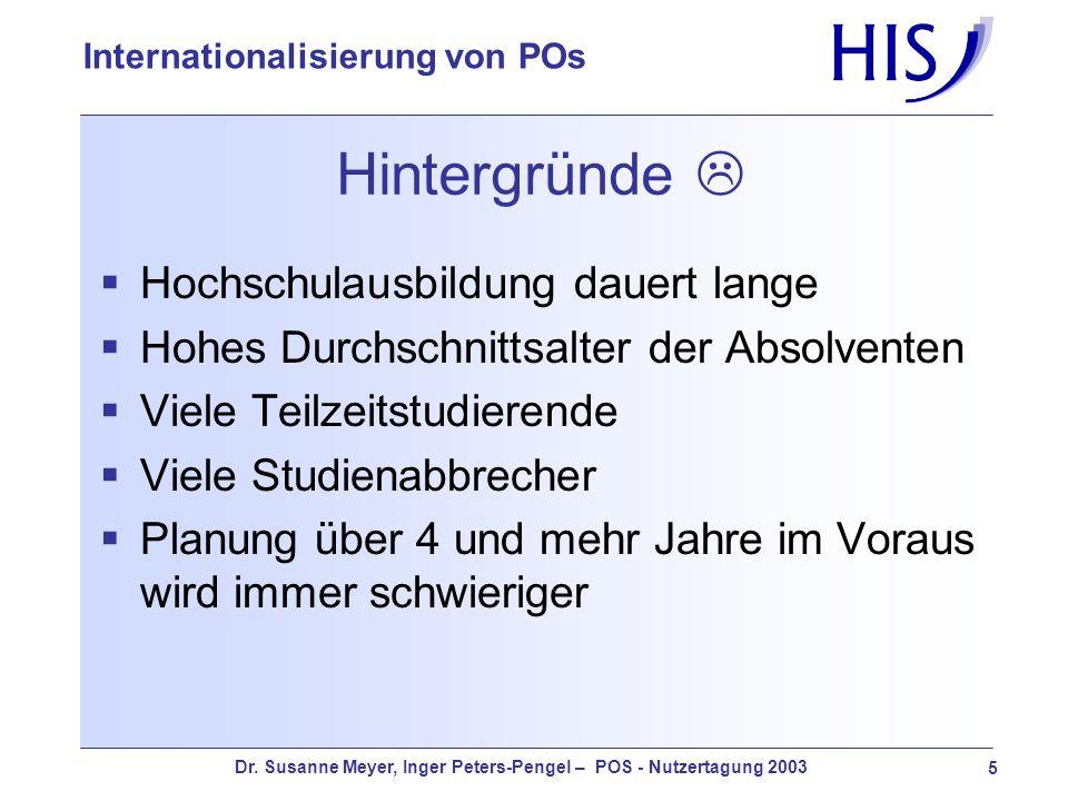 Dr. Susanne Meyer, Inger Peters-Pengel – POS - Nutzertagung 2003 5 Internationalisierung von POs Hintergründe Hochschulausbildung dauert lange Hohes D