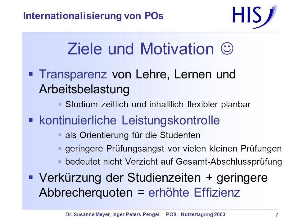 Dr. Susanne Meyer, Inger Peters-Pengel – POS - Nutzertagung 2003 7 Internationalisierung von POs Ziele und Motivation Transparenz von Lehre, Lernen un