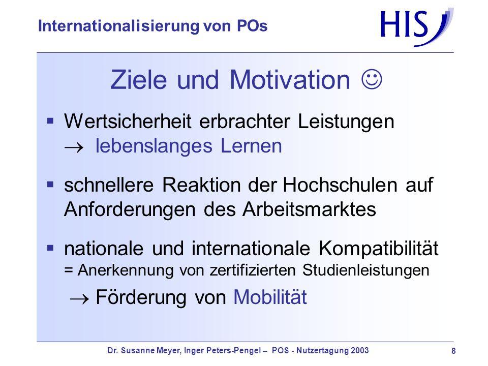 Dr. Susanne Meyer, Inger Peters-Pengel – POS - Nutzertagung 2003 8 Internationalisierung von POs Ziele und Motivation Wertsicherheit erbrachter Leistu