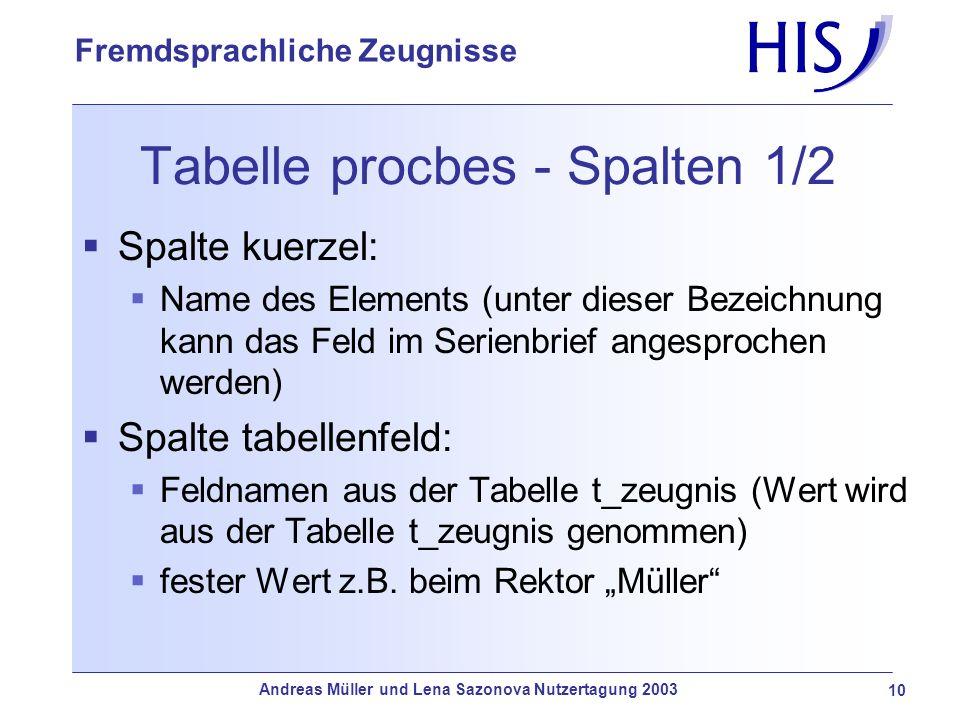 Andreas Müller und Lena Sazonova Nutzertagung 2003 10 Fremdsprachliche Zeugnisse Tabelle procbes - Spalten 1/2 Spalte kuerzel: Name des Elements (unte