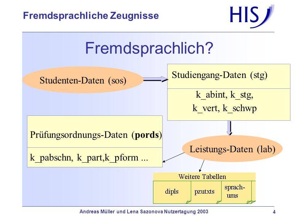 Andreas Müller und Lena Sazonova Nutzertagung 2003 4 Fremdsprachliche Zeugnisse Fremdsprachlich? Studenten-Daten (sos) Leistungs-Daten (lab) Prüfungso