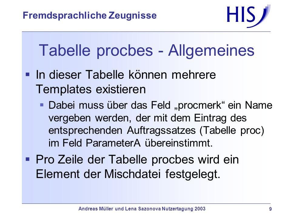 Andreas Müller und Lena Sazonova Nutzertagung 2003 9 Fremdsprachliche Zeugnisse Tabelle procbes - Allgemeines In dieser Tabelle können mehrere Templat
