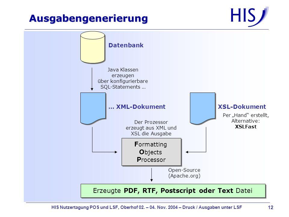12 HIS Nutzertagung POS und LSF, Oberhof 02. – 04. Nov. 2004 – Druck / Ausgaben unter LSF Ausgabengenerierung Datenbank … XML-Dokument Java Klassen er