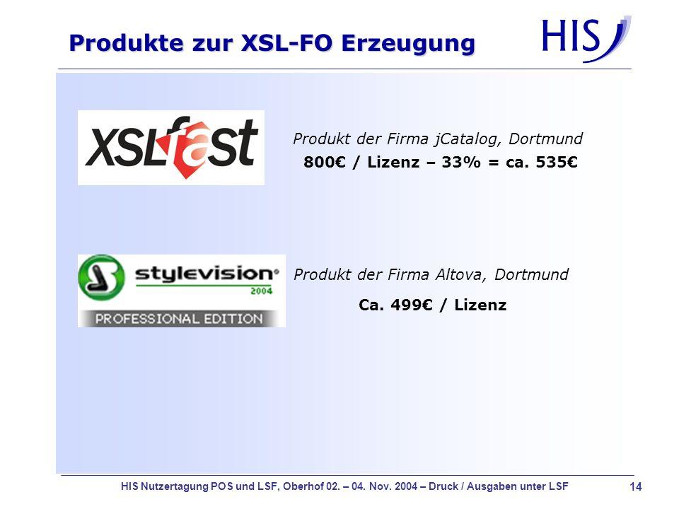 14 HIS Nutzertagung POS und LSF, Oberhof 02. – 04. Nov. 2004 – Druck / Ausgaben unter LSF Produkte zur XSL-FO Erzeugung Produkt der Firma jCatalog, Do