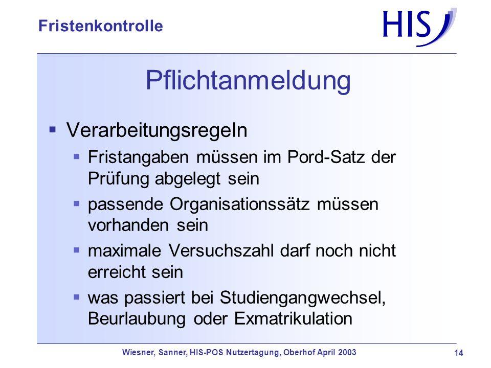 Wiesner, Sanner, HIS-POS Nutzertagung, Oberhof April 2003 14 Fristenkontrolle Pflichtanmeldung Verarbeitungsregeln Fristangaben müssen im Pord-Satz de