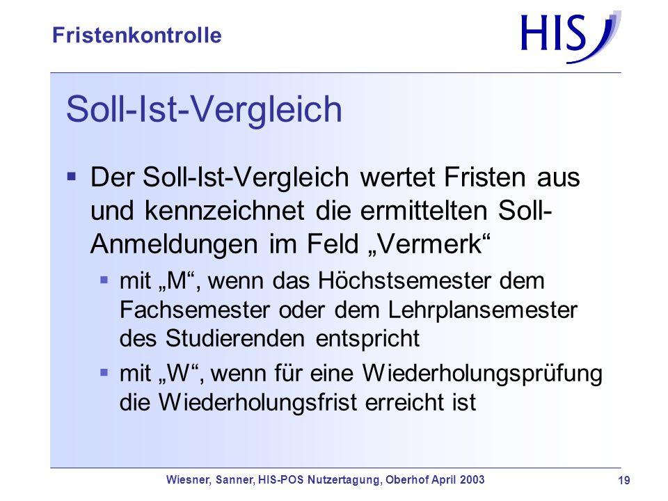Wiesner, Sanner, HIS-POS Nutzertagung, Oberhof April 2003 19 Fristenkontrolle Soll-Ist-Vergleich Der Soll-Ist-Vergleich wertet Fristen aus und kennzei