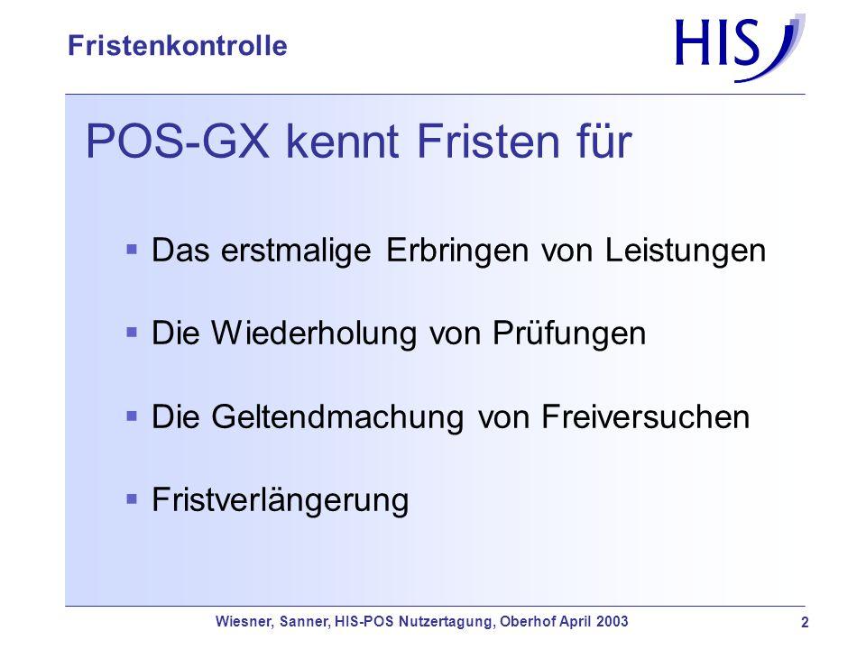 Wiesner, Sanner, HIS-POS Nutzertagung, Oberhof April 2003 2 Fristenkontrolle POS-GX kennt Fristen für Das erstmalige Erbringen von Leistungen Die Wied
