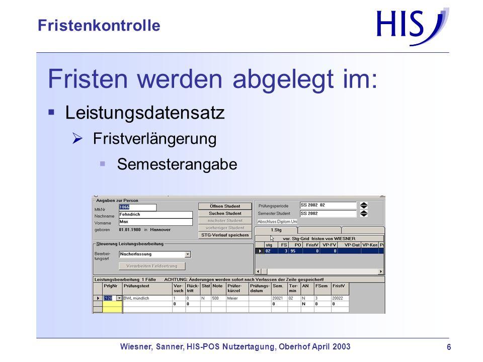 Wiesner, Sanner, HIS-POS Nutzertagung, Oberhof April 2003 17 Fristenkontrolle Soll-Ist-Vergleich Das Soll-Ist-Vergleich-Programm (SIV) kann aus der POS-Auftragsverwaltung heraus aufgerufen werden lässt sich durch Parameter an die Bedürfnisse der Hochschule anpassen erlaubt die Selektion von Studierenden, für die der SIV ausgeführt werden soll kann mehrfach ausgeführt werden ermöglicht, dass Ergebnisse sofort in der POS-Funktion LESB angesehen werden