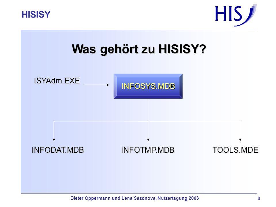 HISISY-GX Was gehört zu HISISY? INFODAT.MDBINFOTMP.MDBTOOLS.MDE ISYAdm.EXEINFOSYS.MDB 4 HISISY Dieter Oppermann und Lena Sazonova, Nutzertagung 2003