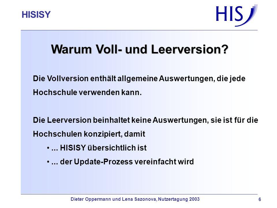 HISISY-GX Warum Voll- und Leerversion? Die Vollversion enthält allgemeine Auswertungen, die jede Hochschule verwenden kann. Die Leerversion beinhaltet