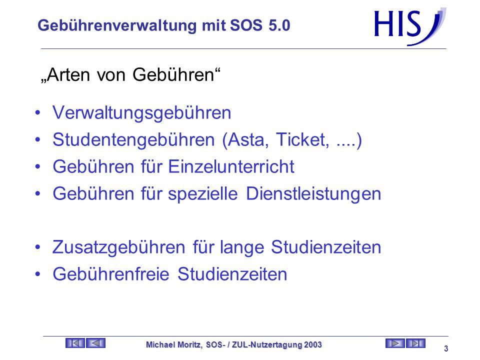 Gebührenverwaltung mit SOS 5.0 Michael Moritz, SOS- / ZUL-Nutzertagung 2003 2 Inhalt des Vortrages Arten von Gebühren Erhöhung / Verminderung von Stud