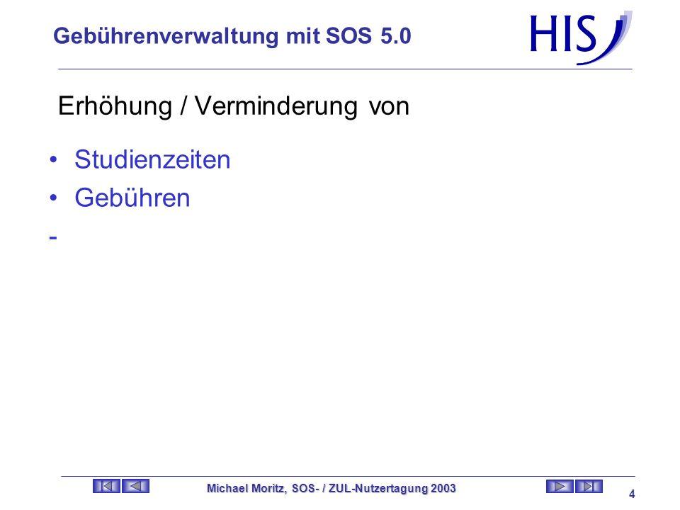 Gebührenverwaltung mit SOS 5.0 Michael Moritz, SOS- / ZUL-Nutzertagung 2003 3 Arten von Gebühren Verwaltungsgebühren Studentengebühren (Asta, Ticket,.