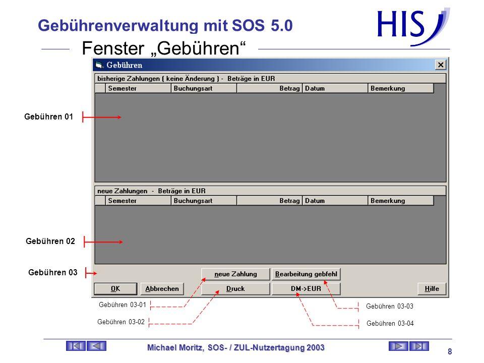 Gebührenverwaltung mit SOS 5.0 Michael Moritz, SOS- / ZUL-Nutzertagung 2003 7 Neue Fenster in SOS 5.0 Übersicht der Fenster: Fenster Gebühren Altes Fe