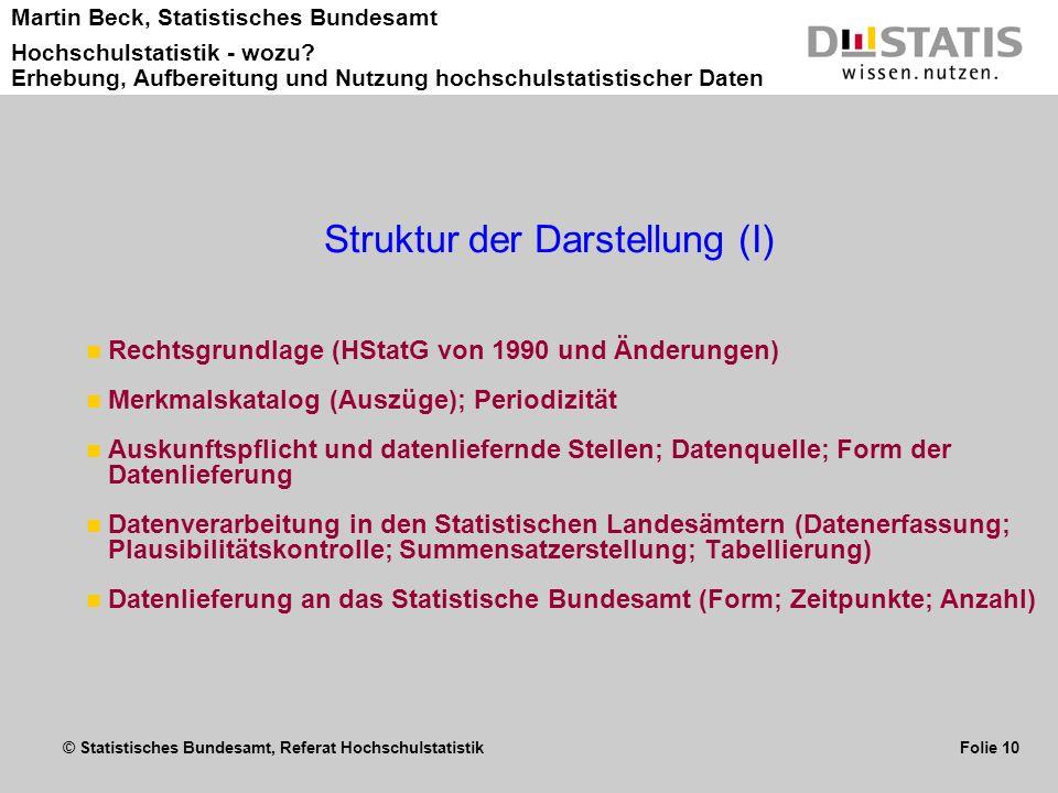 © Statistisches Bundesamt, Referat Hochschulstatistik Folie 10 Martin Beck, Statistisches Bundesamt Hochschulstatistik - wozu? Erhebung, Aufbereitung