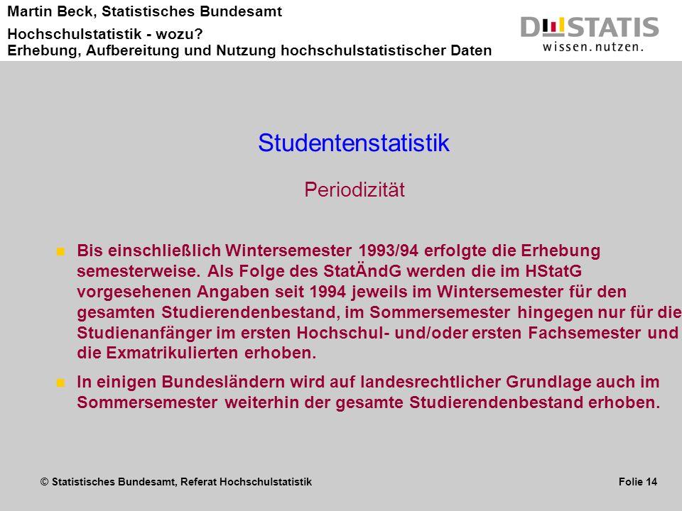 © Statistisches Bundesamt, Referat Hochschulstatistik Folie 14 Martin Beck, Statistisches Bundesamt Hochschulstatistik - wozu? Erhebung, Aufbereitung
