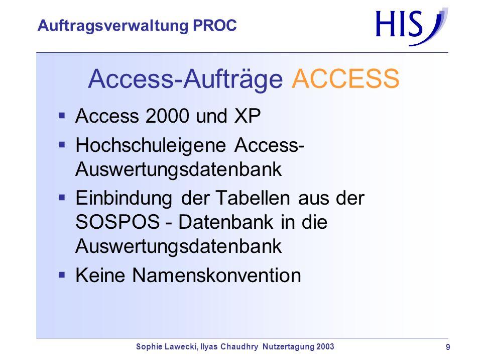 Sophie Lawecki, Ilyas Chaudhry Nutzertagung 2003 9 Auftragsverwaltung PROC Access-Aufträge ACCESS Access 2000 und XP Hochschuleigene Access- Auswertun