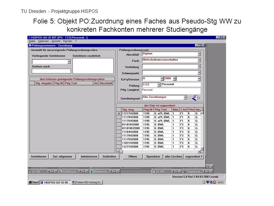Folie 5: Objekt PO:Zuordnung eines Faches aus Pseudo-Stg WW zu konkreten Fachkonten mehrerer Studiengänge TU Dresden - Projektgruppe HISPOS