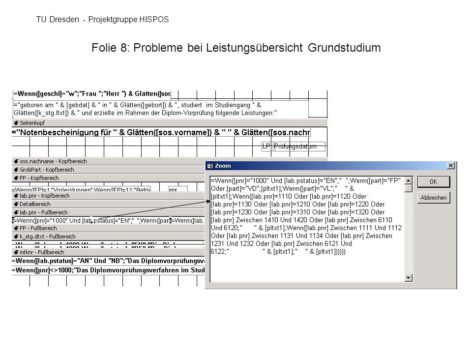 Folie 8: Probleme bei Leistungsübersicht Grundstudium TU Dresden - Projektgruppe HISPOS