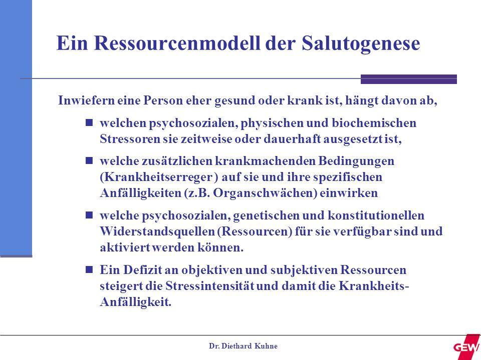 Dr. Diethard Kuhne Ein Ressourcenmodell der Salutogenese Inwiefern eine Person eher gesund oder krank ist, hängt davon ab, welchen psychosozialen, phy