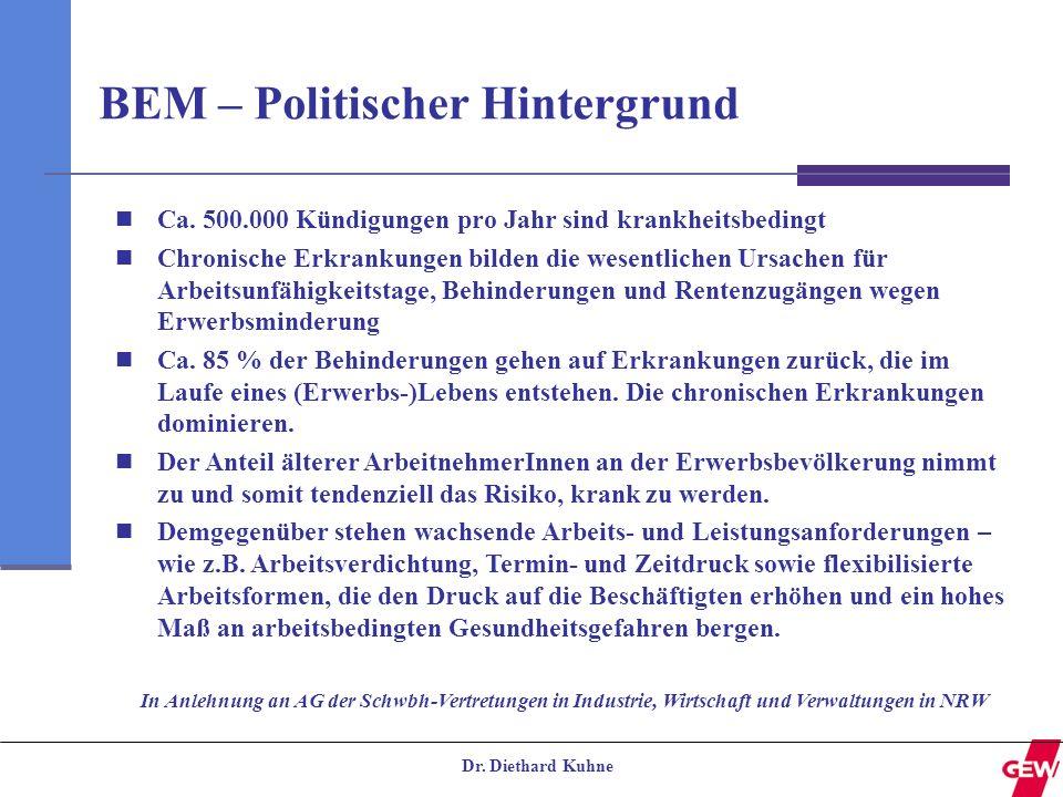 Dr. Diethard Kuhne BEM – Politischer Hintergrund Ca. 500.000 Kündigungen pro Jahr sind krankheitsbedingt Chronische Erkrankungen bilden die wesentlich