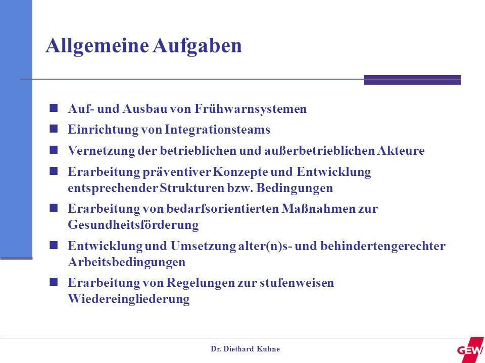 Dr. Diethard Kuhne Allgemeine Aufgaben Auf- und Ausbau von Frühwarnsystemen Einrichtung von Integrationsteams Vernetzung der betrieblichen und außerbe