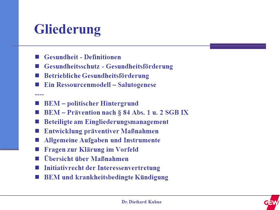 Dr. Diethard Kuhne Gliederung Gesundheit - Definitionen Gesundheitsschutz - Gesundheitsförderung Betriebliche Gesundheitsförderung Ein Ressourcenmodel