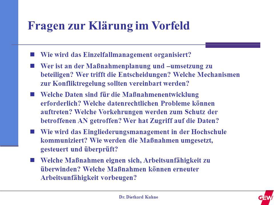 Dr. Diethard Kuhne Fragen zur Klärung im Vorfeld Wie wird das Einzelfallmanagement organisiert? Wer ist an der Maßnahmenplanung und –umsetzung zu bete