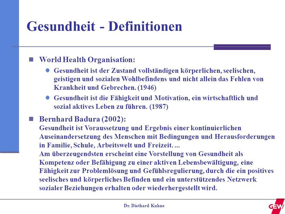 Dr. Diethard Kuhne Gesundheit - Definitionen World Health Organisation: Gesundheit ist der Zustand vollständigen körperlichen, seelischen, geistigen u