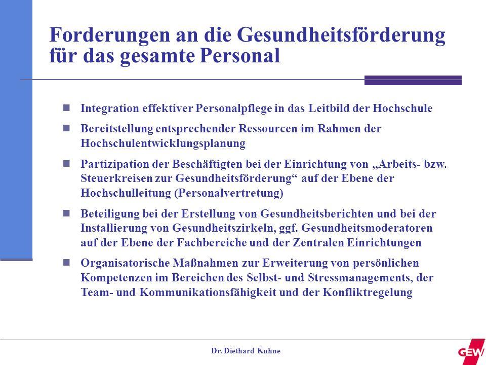 Dr. Diethard Kuhne Forderungen an die Gesundheitsförderung für das gesamte Personal Integration effektiver Personalpflege in das Leitbild der Hochschu