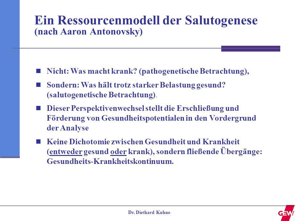 Dr. Diethard Kuhne Ein Ressourcenmodell der Salutogenese (nach Aaron Antonovsky) Nicht: Was macht krank? (pathogenetische Betrachtung), Sondern: Was h