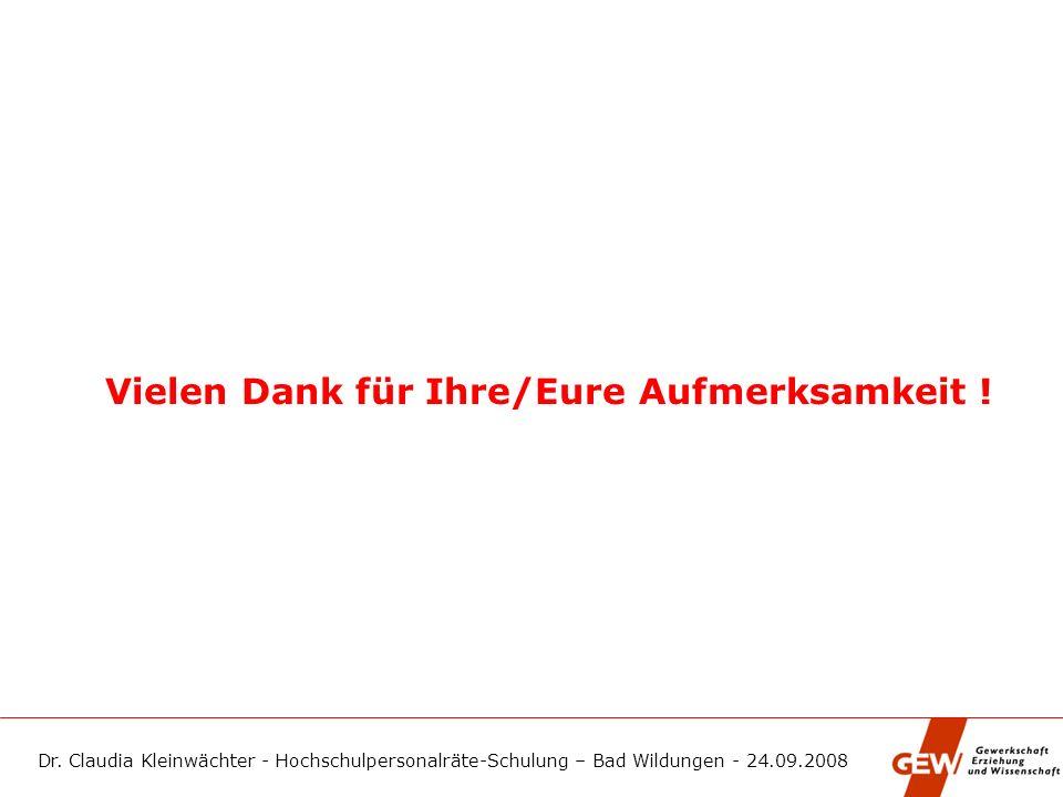 Dr. Claudia Kleinwächter - Hochschulpersonalräte-Schulung – Bad Wildungen - 24.09.2008 Vielen Dank für Ihre/Eure Aufmerksamkeit !
