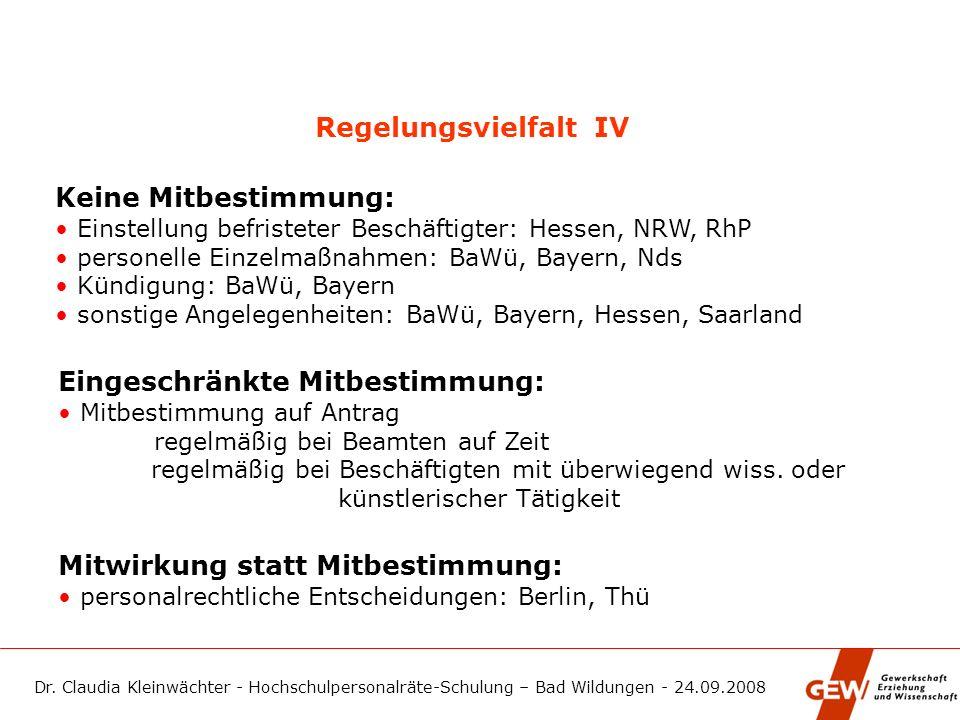Dr. Claudia Kleinwächter - Hochschulpersonalräte-Schulung – Bad Wildungen - 24.09.2008 Regelungsvielfalt IV Keine Mitbestimmung: Einstellung befristet