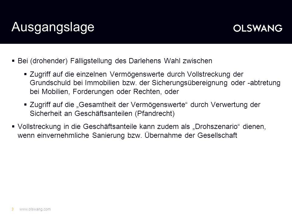 www.olswang.com13 Anteilsverwertung - Vorbereitung - Versteigerungsbedingungen: -Beschreibung der zu versteigernden Anteile -Voraussetzungen für Zulassung von Geboten (z.B.