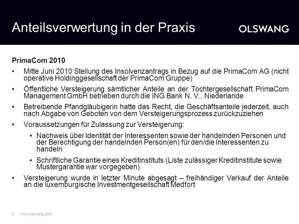 www.olswang.com8 Praktische Hürden bei Sicherungsabtretung/-übereignung Abwicklungsprobleme bei großen Immobilienportfolien, z.B. Versendung großer Me