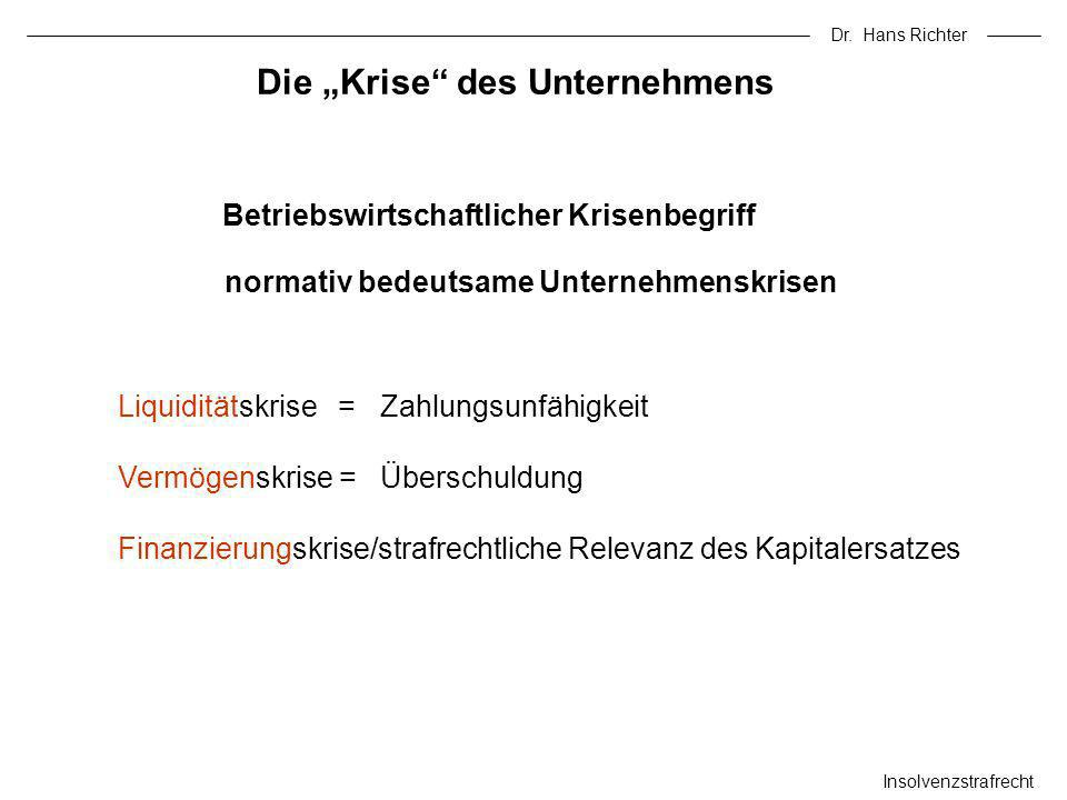 Dr. Hans Richter Insolvenzstrafrecht Die Krise des Unternehmens Betriebswirtschaftlicher Krisenbegriff Liquiditätskrise = Zahlungsunfähigkeit Vermögen