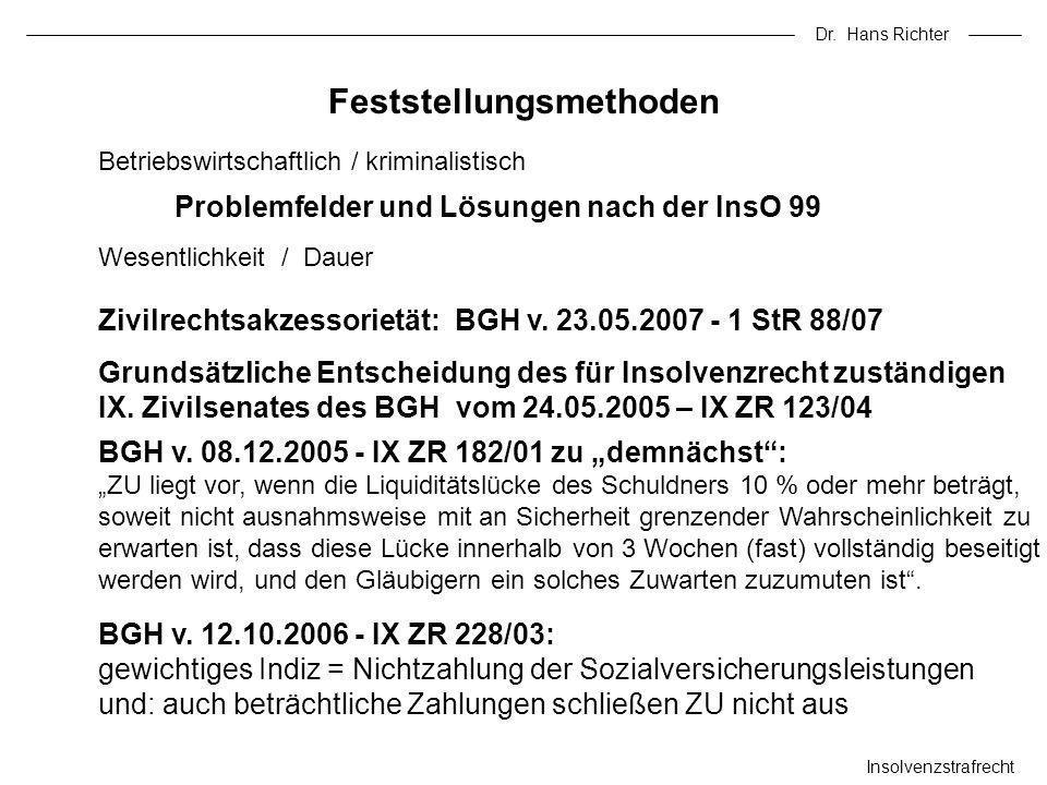 Dr. Hans Richter Insolvenzstrafrecht Betriebswirtschaftlich / kriminalistisch Problemfelder und Lösungen nach der InsO 99 Wesentlichkeit / Dauer Fests