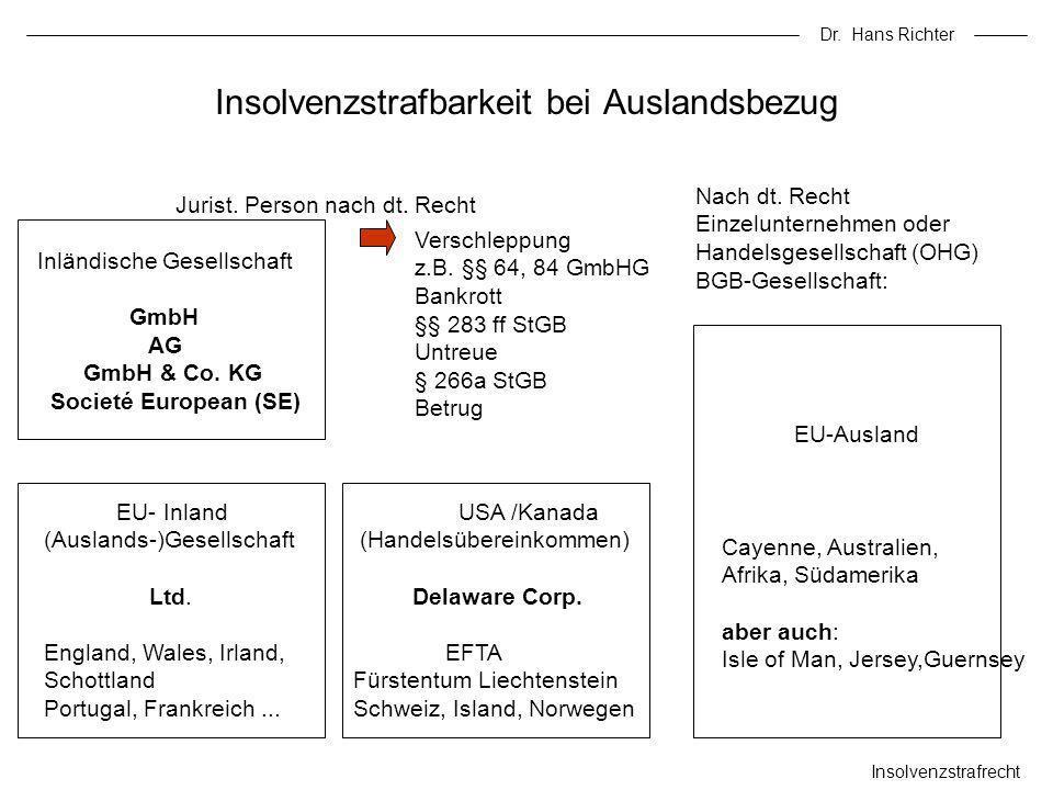 Dr. Hans Richter Insolvenzstrafrecht Insolvenzstrafbarkeit bei Auslandsbezug Jurist. Person nach dt. Recht Inländische Gesellschaft GmbH AG GmbH & Co.
