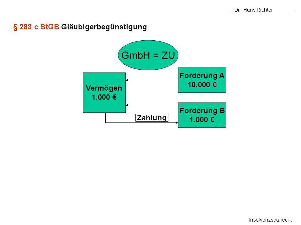 Dr. Hans Richter Insolvenzstrafrecht § 283 c StGB Gläubigerbegünstigung GmbH = ZU Vermögen 1.000 Forderung A 10.000 Forderung B 1.000 Zahlung