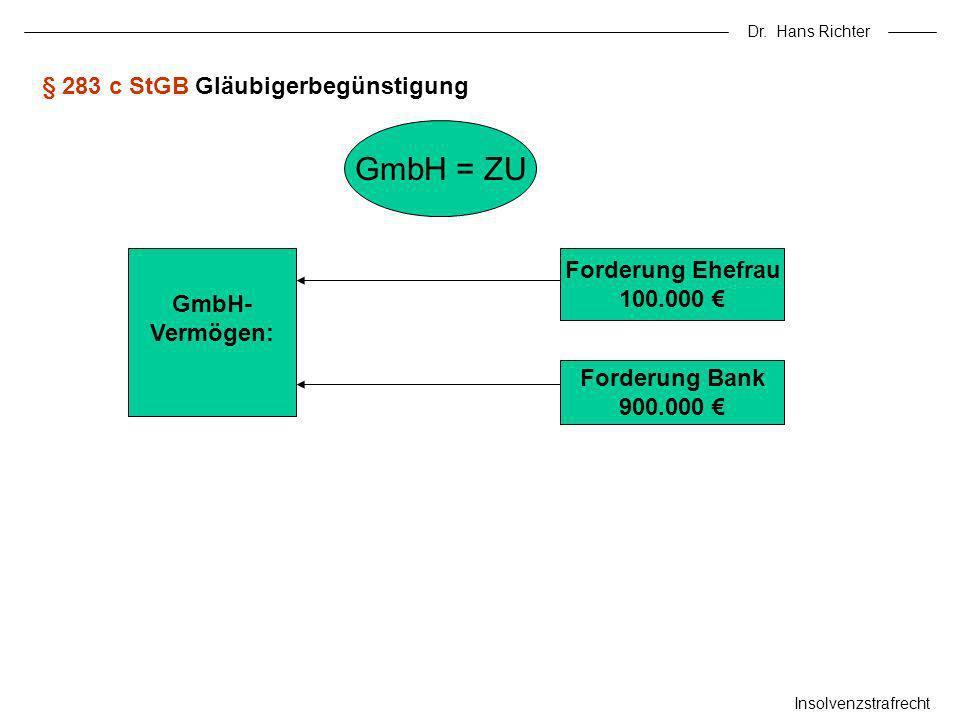 Dr. Hans Richter Insolvenzstrafrecht § 283 c StGB Gläubigerbegünstigung GmbH = ZU GmbH- Vermögen: Forderung Ehefrau 100.000 Forderung Bank 900.000